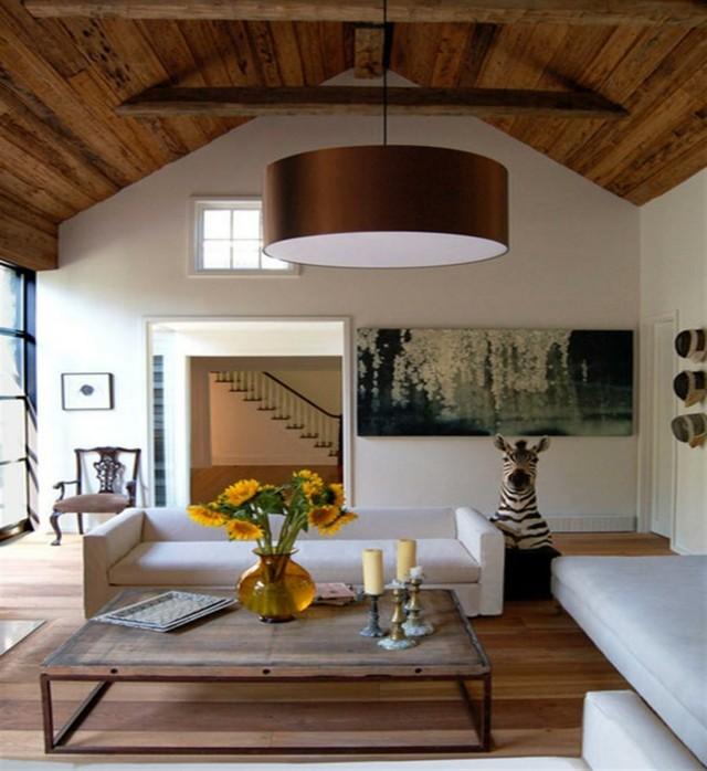 salon design belle décoration plafond en bois