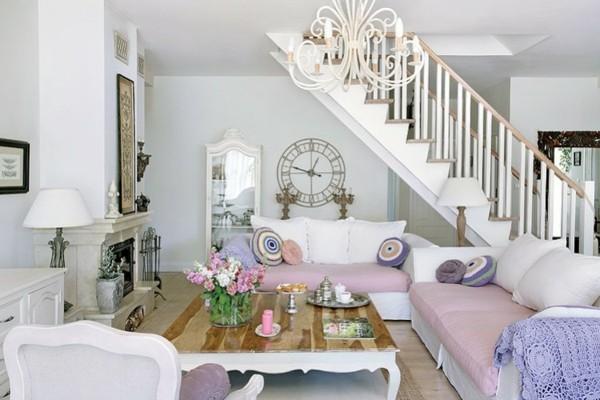 salon escalier lilas