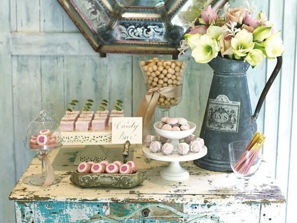 fleurs de bonbons de table shabby chic