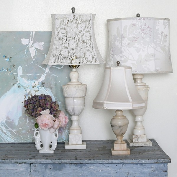 diverses lampes blanches shabby chic