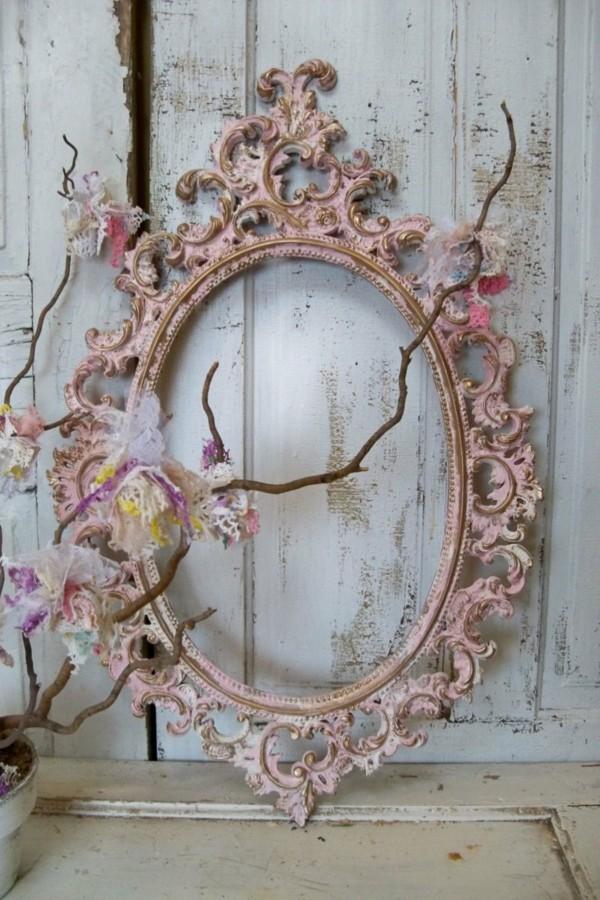 miroir de cadre de décoration minable rose