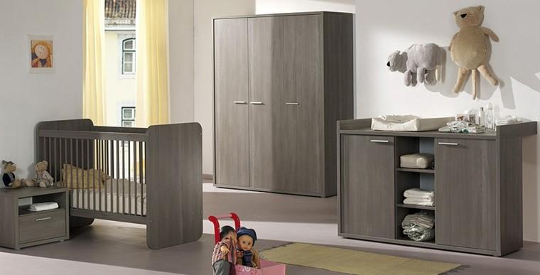 berceau minimaliste de chambre bébé gris
