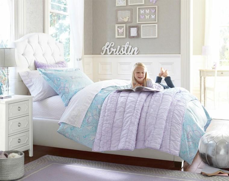 grand lit chambre fille blanc