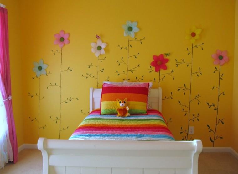 chambre d'enfant fleurs jaunes
