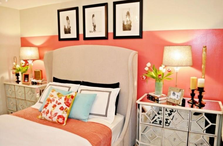 chambre à coucher couleurs saumon blanc