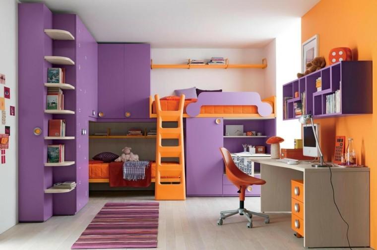 lits superposés pour chambre d'enfants orange violet