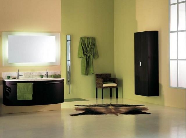 design d'intérieur avec des meubles de salle de bain aux couleurs chaudes