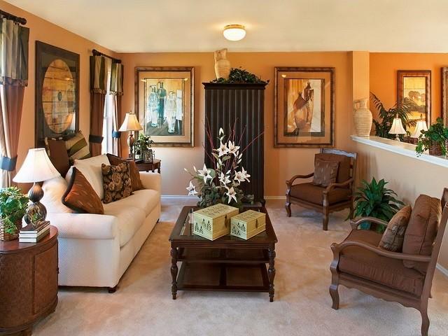 design d'intérieur avec décoration de meubles aux couleurs chaudes