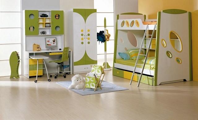 design d'intérieur avec des meubles de chambre d'enfants aux couleurs chaudes