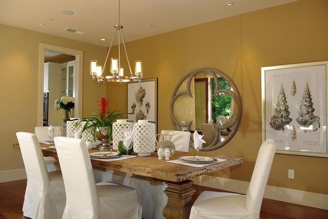 Chaises de salle à manger chaleureuses décoration lampes suspendues