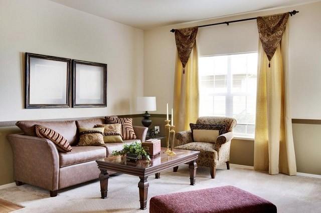 murs design chaleureux rideaux classiques meubles coussins