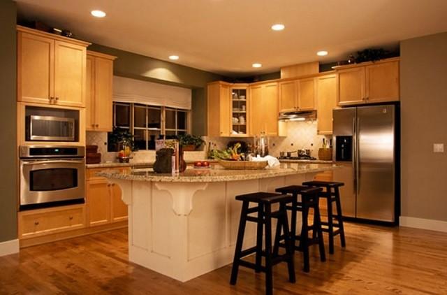 chaises lampes salle à manger éclairage chaleureux de la cuisine