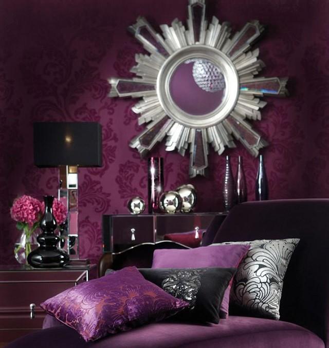 miroir mural papier violet soleil