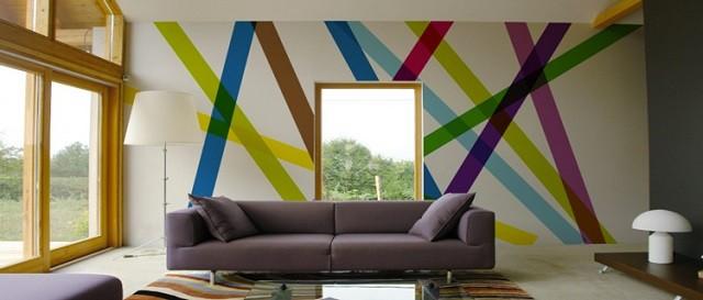 papier peint rayures couleurs moderne