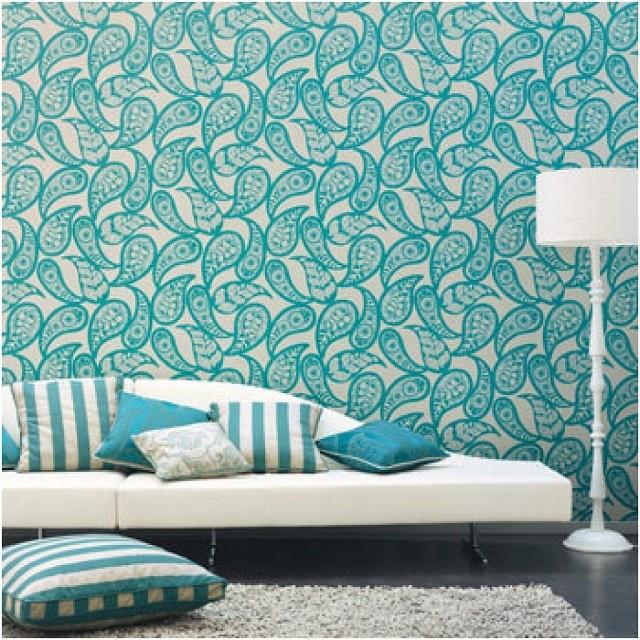papier peint gouttes bleues feuilles