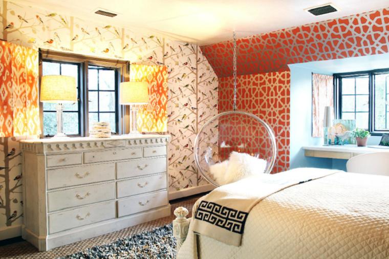 Impressions sur papier peint de chambre à coucher oiseaux arbre moderne