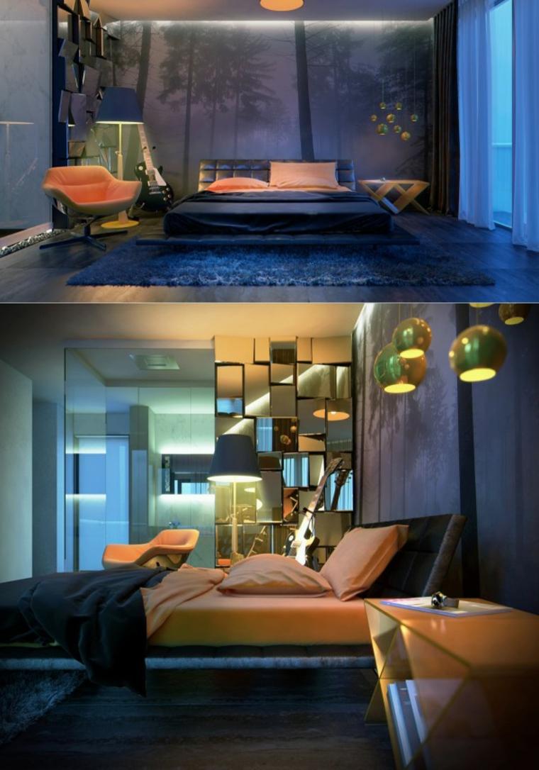chambre bleu clair orange