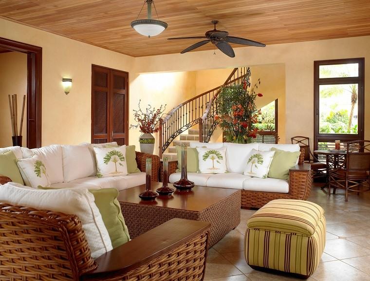 design d'intérieur avec des ventilateurs de salon aux couleurs chaudes