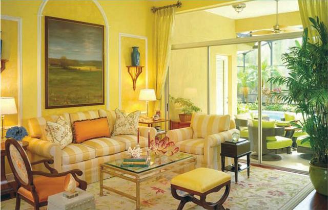 design d'intérieur avec des plantes de salon aux couleurs chaudes