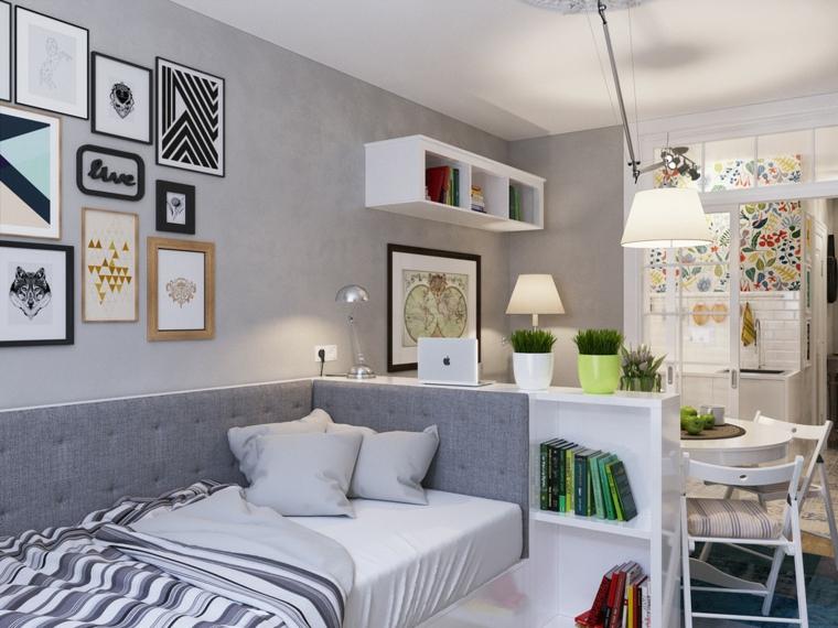 appartements distribution salons idées couleurs lit
