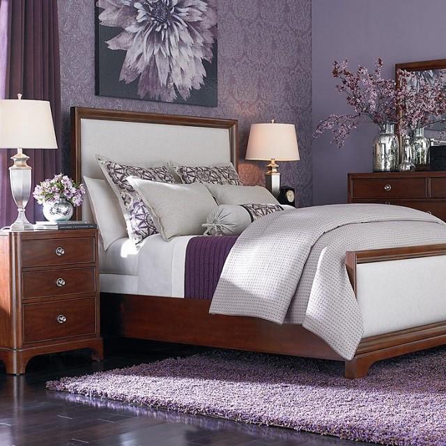 lit de papier de chambre à coucher lavande lilas