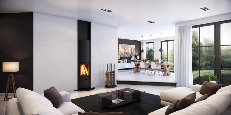 Idées originales de cheminée de salon moderne de style scandinave