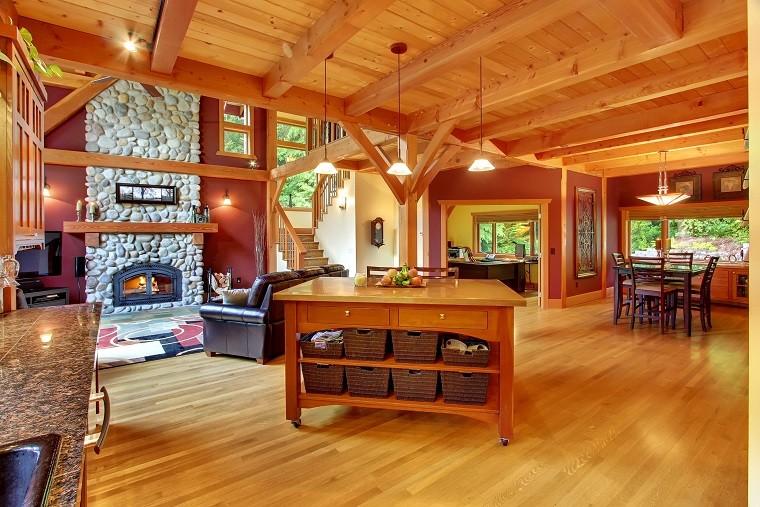 plafond cheminée bois design belle idée lumineuse