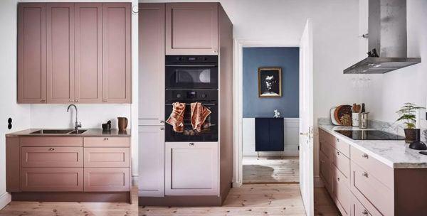 Cuisines roses design de cuisine rose avec des meubles en bois