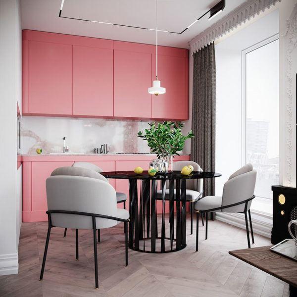 Cuisines roses design de cuisine rose avec du blanc