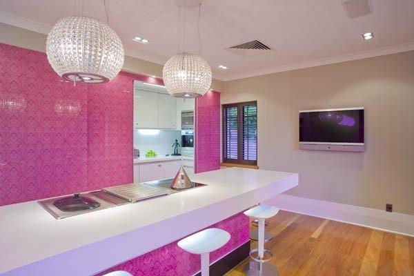 Cuisines roses design de cuisine rose murs roses