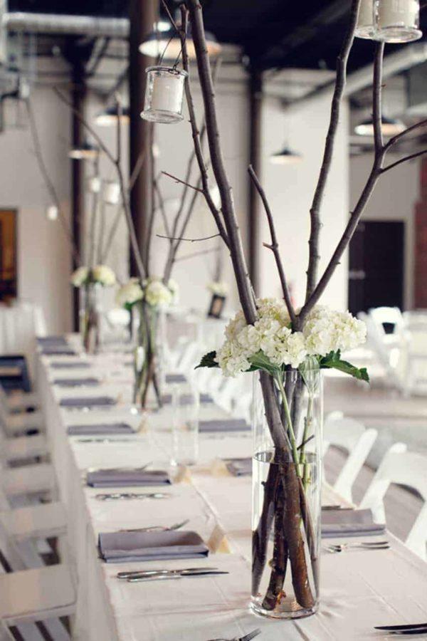 Centre de table pour fleurs de branches de mariage