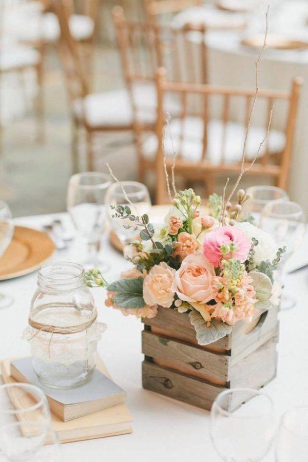 Centre de table mariage petite boîte en bois
