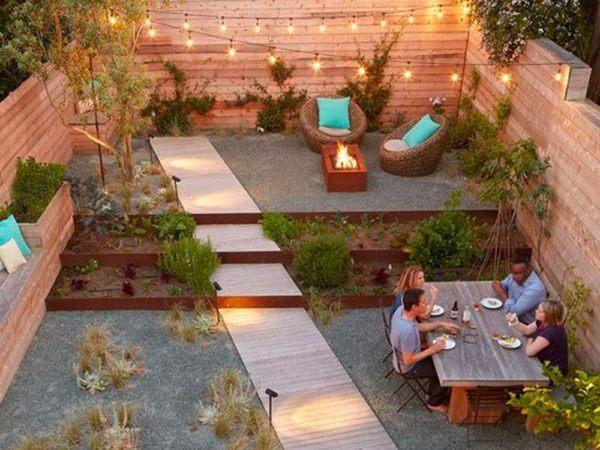 Jardins et terrasses extérieurs en bois terrasse de jardin sans herbe