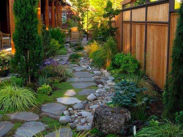 Extérieur bois jardins et terrasses sol pierres