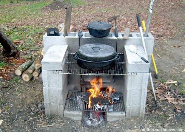 Station de cuisson extérieure en parpaing