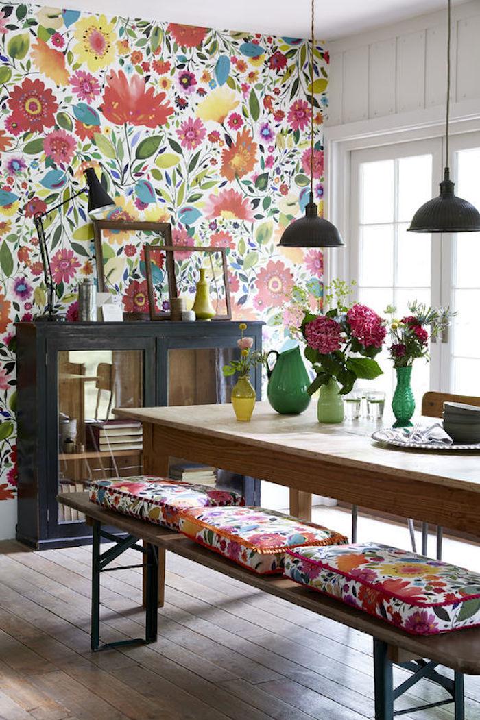 Papier peint lumineux floral multicolore