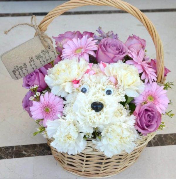 Comment faire une composition florale PHOTOS centre de table panier fleurs de poupée