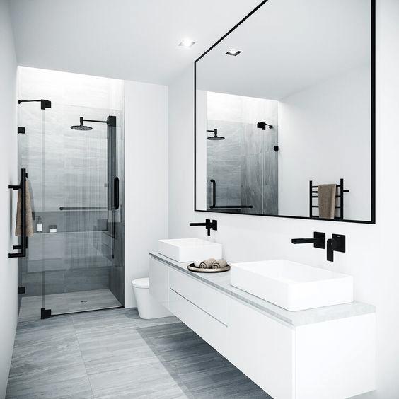 15 petites salles de bain avec douche 2021 2022 blanc noir