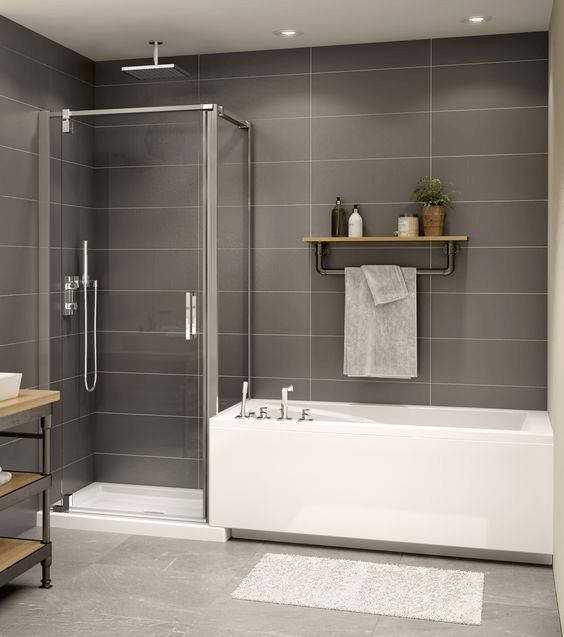 15 petites salles de bain avec douche 2021 2022 mur gris