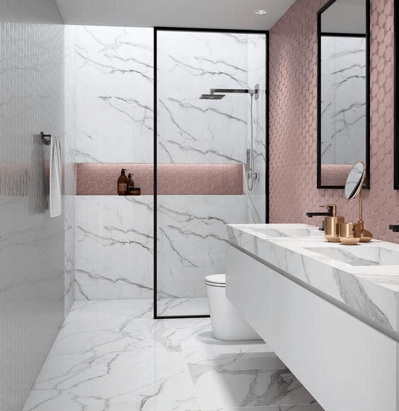 15 petites salles de bain avec douche 2021 2022 marbre