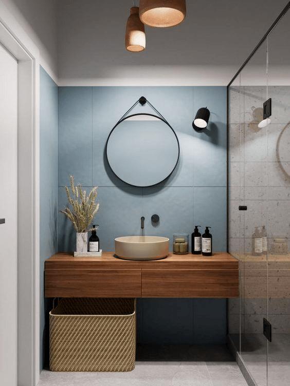 15 petites salles de bain avec douche 2021 2022 miroir rond