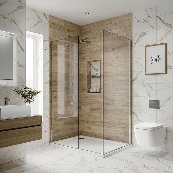 15 petites salles de bain avec douche 2021 2022 bois