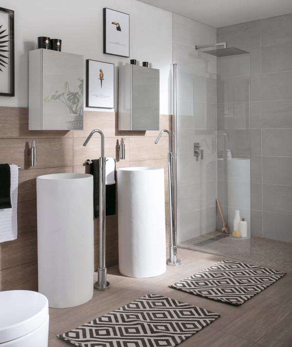 15 petites salles de bain avec douche 2021 2022 LEROY MERLIN salle de bain double blanc