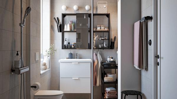 15 petites salles de bain avec douche 2021 2022 Meuble de salle de bain IKEA blanc