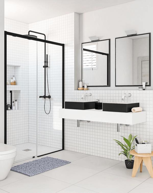 15 petites salles de bain avec douche 2021 2022 LEROY MERLIN salle de bain avec paravent noir