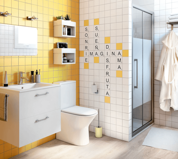 15 petites salles de bain avec douche 2021 2022 LEROY MERLIN salle de bain jaune