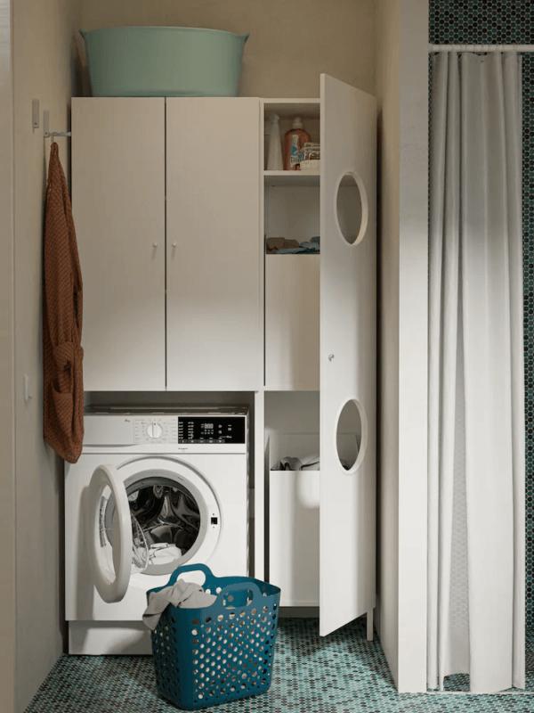 15 petites salles de bain avec douche 2021 2022 IKEA lave linge salle de bain