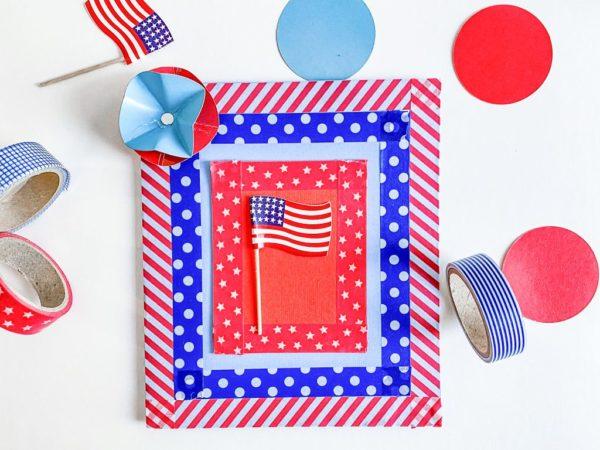 Les meilleures cartes faites à la main pour la fête de l'indépendance des états-unis avec du ruban washi