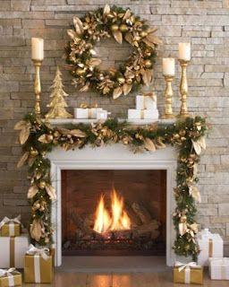 Cheminées de Noël en or