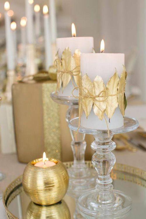 Centres de table de Noël en or